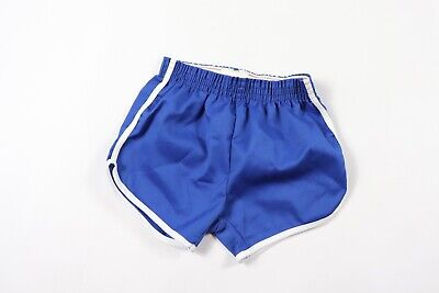 Vintage 70s New Merrygarden Youth Small Striped 50/50 Gym Soccer Shorts Blue