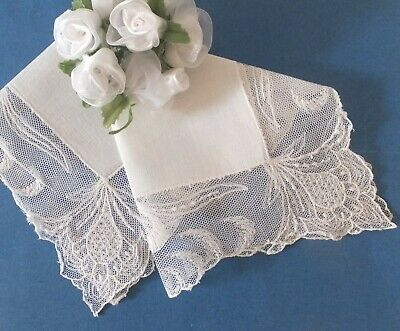 Antique Vintage White Handkerchief Wide Net Lace Edging Wedding Bridal Keepsake