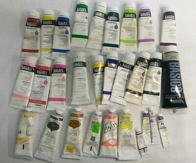 Lot of 29 Acrylic Artist Colors , tubes, liquitex, finity, Winsor& Newton