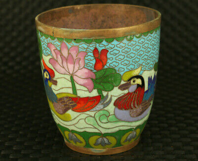 Antiques China old Cloisonne Handpainted mandarin duck Statue tea cup noble gift
