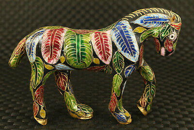 true to life chinese old Cloisonne Hand Carved horse Statue table decoration