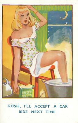 Comic Exhausted Pretty Lady Will Accept Car Ride Next Time Postcard - Unused