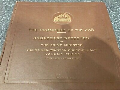"Ww2 Winston Churchill Broadcast Speeches 1941 - 8 X 12"" 78 Set Complete - Ex+"