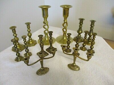 JOB LOT OF 8 x PAIRS OF VINTAGE/ ANTIQUE BRASS CANDLESTICKS (TOTAL WEIGHT 1713g)