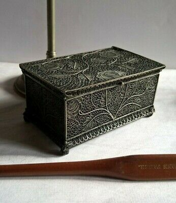 Amazing Antique All Filigree Solid Silver Snuff / Trinket Box