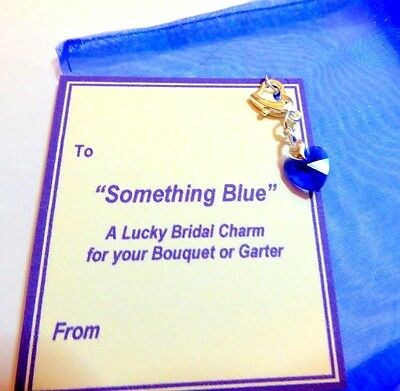 Something Blue Crystal Heart Traditional Lucky Bridal Charm for Garter/Bouquet