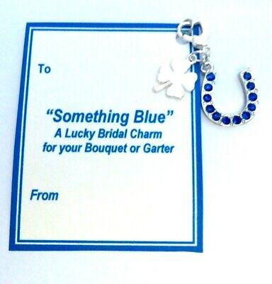 Something Blue Traditional Lucky Bridal Charm Horseshoe & Lucky Clover on Card