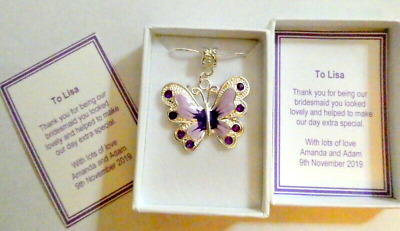 Bridesmaid Flower Girl Purple Butterfly Necklace Personalised Gift Box & Card