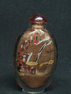Superb Collected China Glass Internal Painting qing ming figure Snuff Bottles