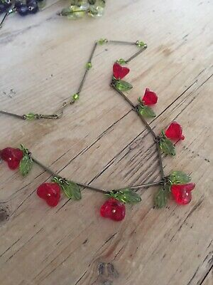 art deco Bohemian Vintage Style , Ruby Red Glass Flower bead Necklace Paste