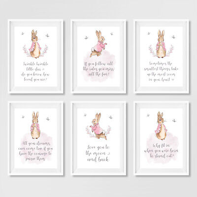 Pink Peter Rabbit Quote Nursery Art Prints Childrens Bedroom Pictures Decor Girl