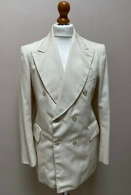 Vintage Carnaby Cavern street mod double breasted cream 1960's suit size 34 36
