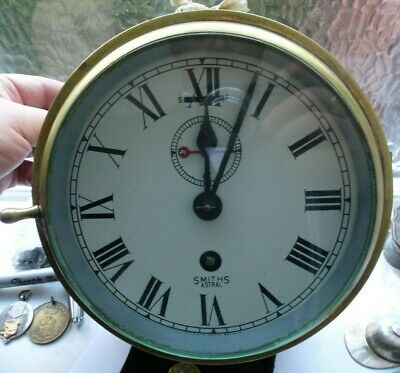 Vintage Smiths Astral Ship Marine Brass Bulkhead Clock