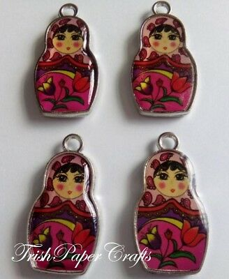1 set of 4 Double-sided Enamelled RUSSIAN DOLL Charms ~ PINK