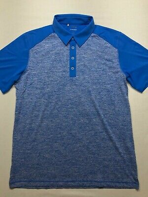 5216 ADIDAS Mens Large Puremotion Golf Shirt Polo Short Sleeve Blue Performance