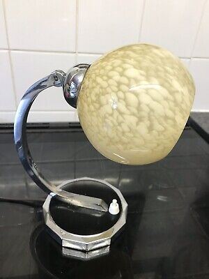 antique Art Deco TABLE LAMP chrome SHADE vintage french ART DECO wall Light