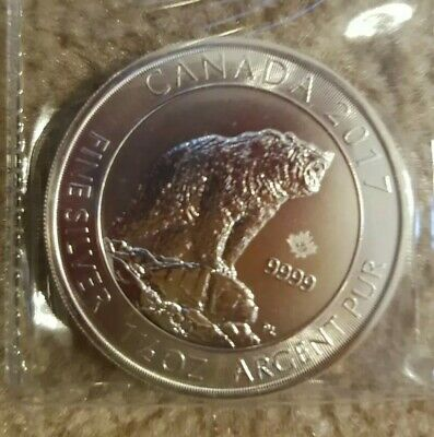 2017 Canada silver 1.5 oz  Grizzly bear
