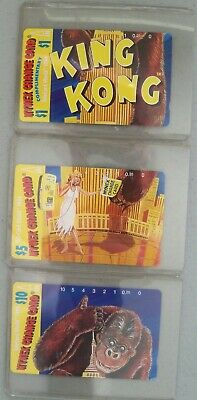 3 Card Set King Kong Phone Cards 1994 in Card Protector FREE SHIPPING