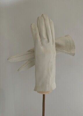 Vintage 1950s White Leather 8 Evening Gloves Wedding Church Size 6.5