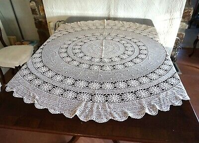 Vintage Round Beige Crochet Tablecloth 3D Rosettes 170 x 155 as found
