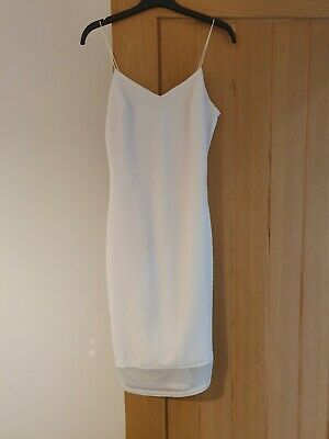River Island Size 8 White Fitted Occasion Dress Brand New With Tags