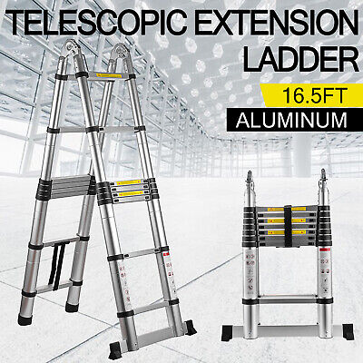 Folding 16.5FT Multi Purpose Telescopic Extension Ladder Aluminum Heavy Duty