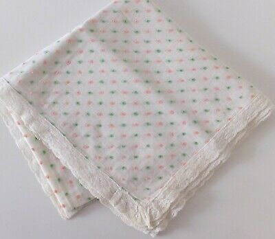 Vintage Handmade White Voil Food Throw Pink Green Dots Lace Edging