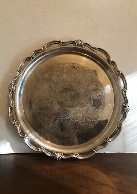 Vintage GUMPS SAN FRANCISCO silver Plate On Copper Round Serving Tray