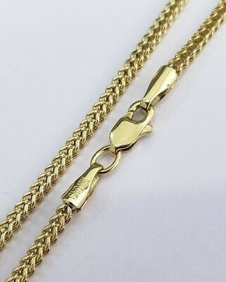 10K Yellow Gold Skinny Solid Franco Box Chain 2mm Necklace 20 Inches Lobster Lok