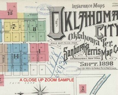 Oklahoma City, Oklahoma~Sanborn Map© sheets with 40 maps is full color on DVD