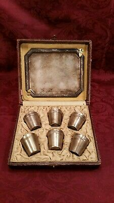 Vintage FRENCH  LIQUOR SERVING SET / Small TRAY with 6 CUPS
