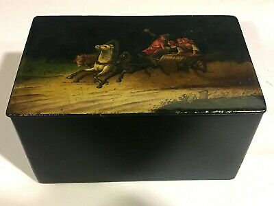 Antique 19th c. RUSSIAN LACQUER HINGED BOX Hand Painted TROIKA SCENE WITH HORSES