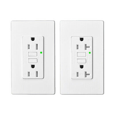 20AMP 15AMP GFCI GFI Safety Outlet Receptacle w/ Wall Plate LED Indicator TR WR
