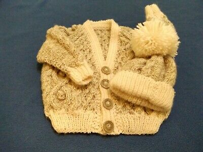 Hand Knitted Aran Cardigan In Oatmeal For 0-3month Baby Boy 7