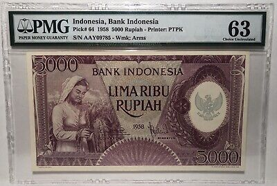 Indonesia, Bank Indonesia Pick# 64 1958 5000 Rupiah PMG 63 Choice UNC