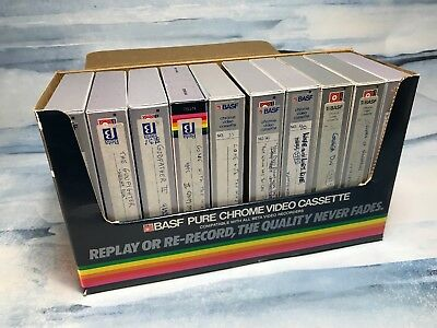 Lot 10 Pre Recorded BASF Beta Tapes / Sold as Blanks