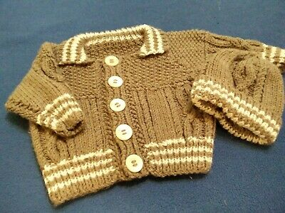 Hand Knitted Aran Cardigan In moss Green for 3-6 month Baby Boy 83