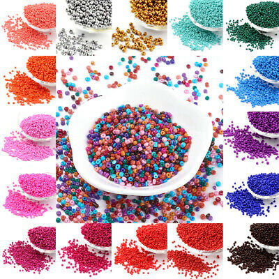 50g Opaque Glass Seed Beads Smooth Tiny Round Loose Solid Color Pony 2mm 3mm 4mm