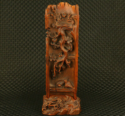 unique Chinese old boxwood Handcarved plum blossom statue table decoration gift