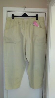 ladies light stone cotton pull on trousers from Casual Comforts size 28 NEW 924