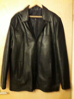 Mens Black Extra Soft Genuine Lambs Leather Jacket Coat Blazer Size XL Xcond