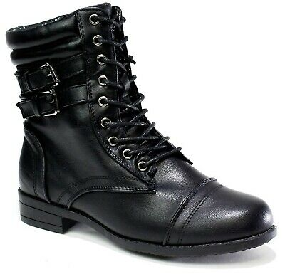 Womens Ladies Combat Army Military Biker Flat Lace Up Worker Ankle Boots Size