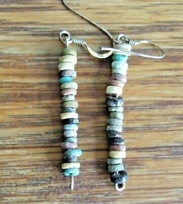 GENUINE ANCIENT EGYPTIAN FAIENCE BEAD EARRINGS (modern silver ear fittings)