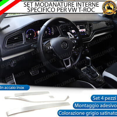 Set Modanature Cruscotto Interno Interni Vw T-Roc In Metallo Grigio Satinato