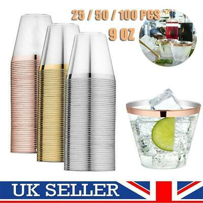 Reusable Plastic Cup Drink Wine Glass Party Wedding Juice Champagne Cocktail UK