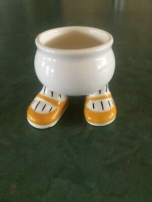 White Ceramic Egg Cup with Feet