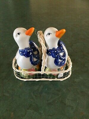 Duck Salt and Pepper Shakers in Basket