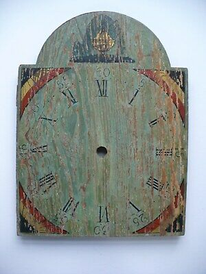 Circa Early 1800'S Tombstone Clock Face Dial With Original Painted Surface