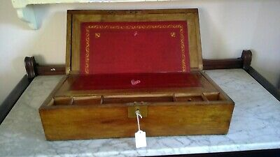 Antique Wooden Writing Slope with key - c1900