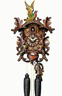 Hubert Herr,  lovely Black Forest 8 day cuckoo clock with 3 hand carved birds.
